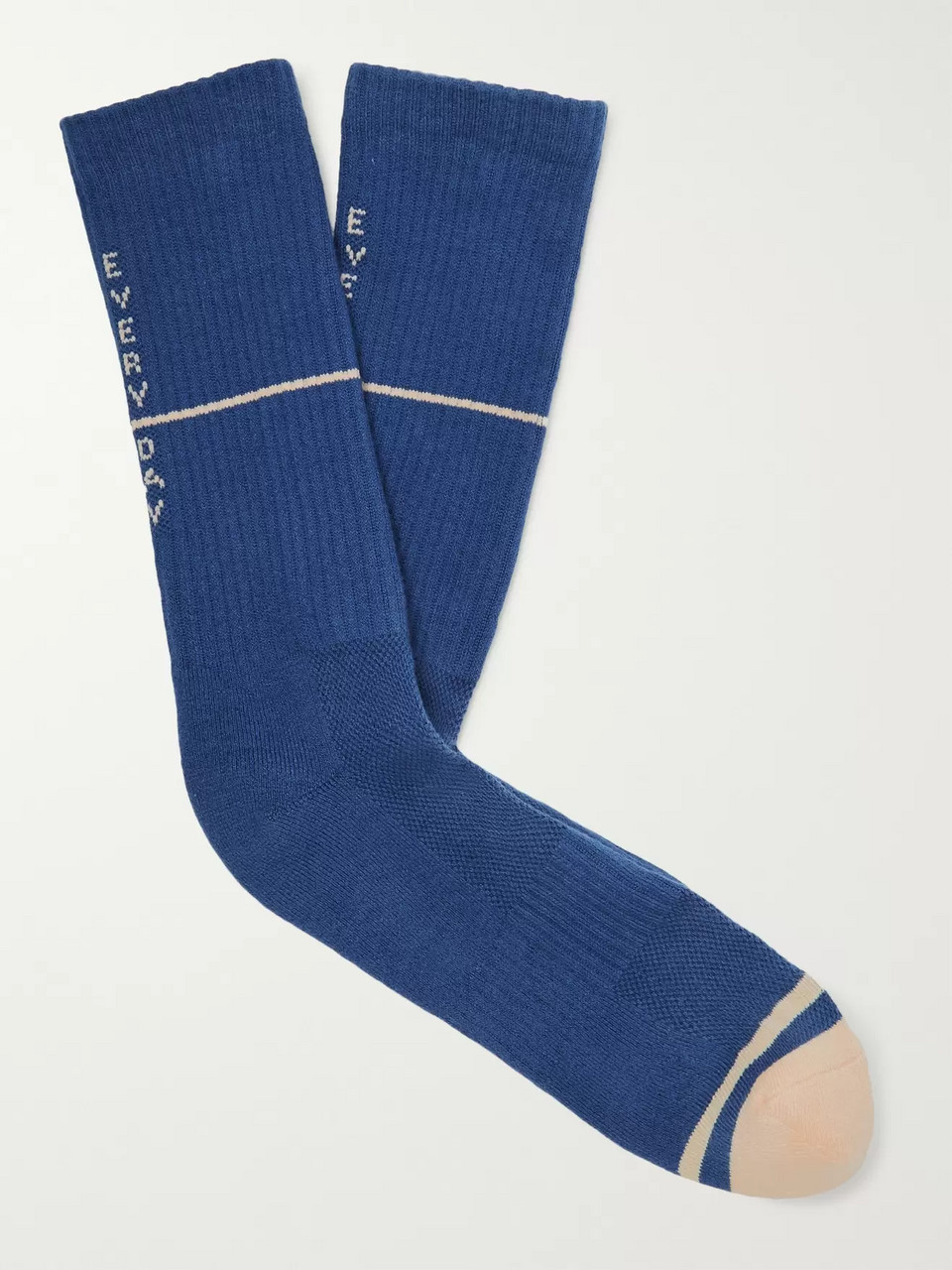 N/A Ribbed Intarsia Stretch Cotton-Blend Socks