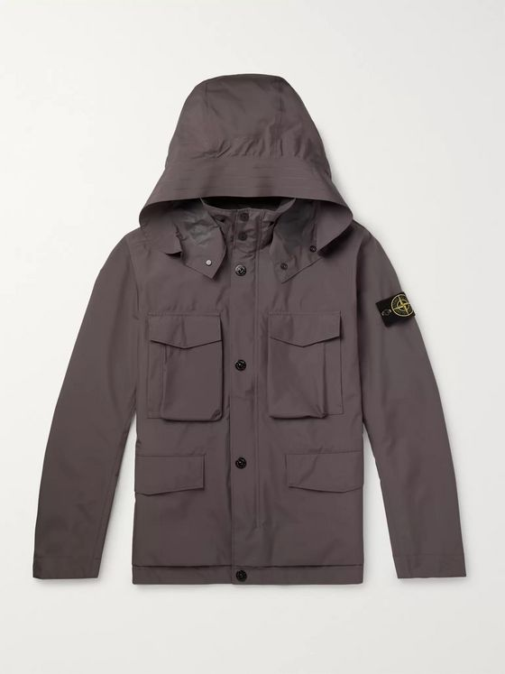 Stone Island Logo-Appliquéd GORE-TEX Paclite Hooded Jacket
