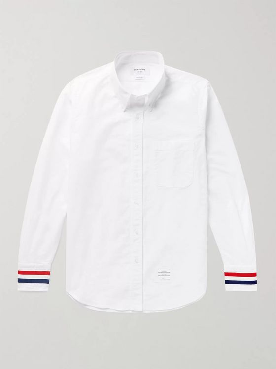 THOM BROWNE Button-Down Collar Grosgrain-Trimmed Cotton-Oxford Shirt