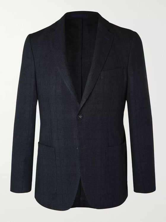 Officine Generale Navy Prince of Wales Checked Cotton and Linen-Blend Blazer