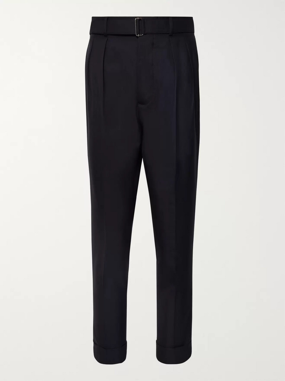 Officine Generale Midnight-Blue Tapered Belted Wool Trousers