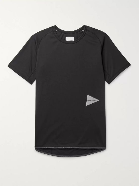 AND WANDER Logo-Print Powder Dry Jersey T-Shirt
