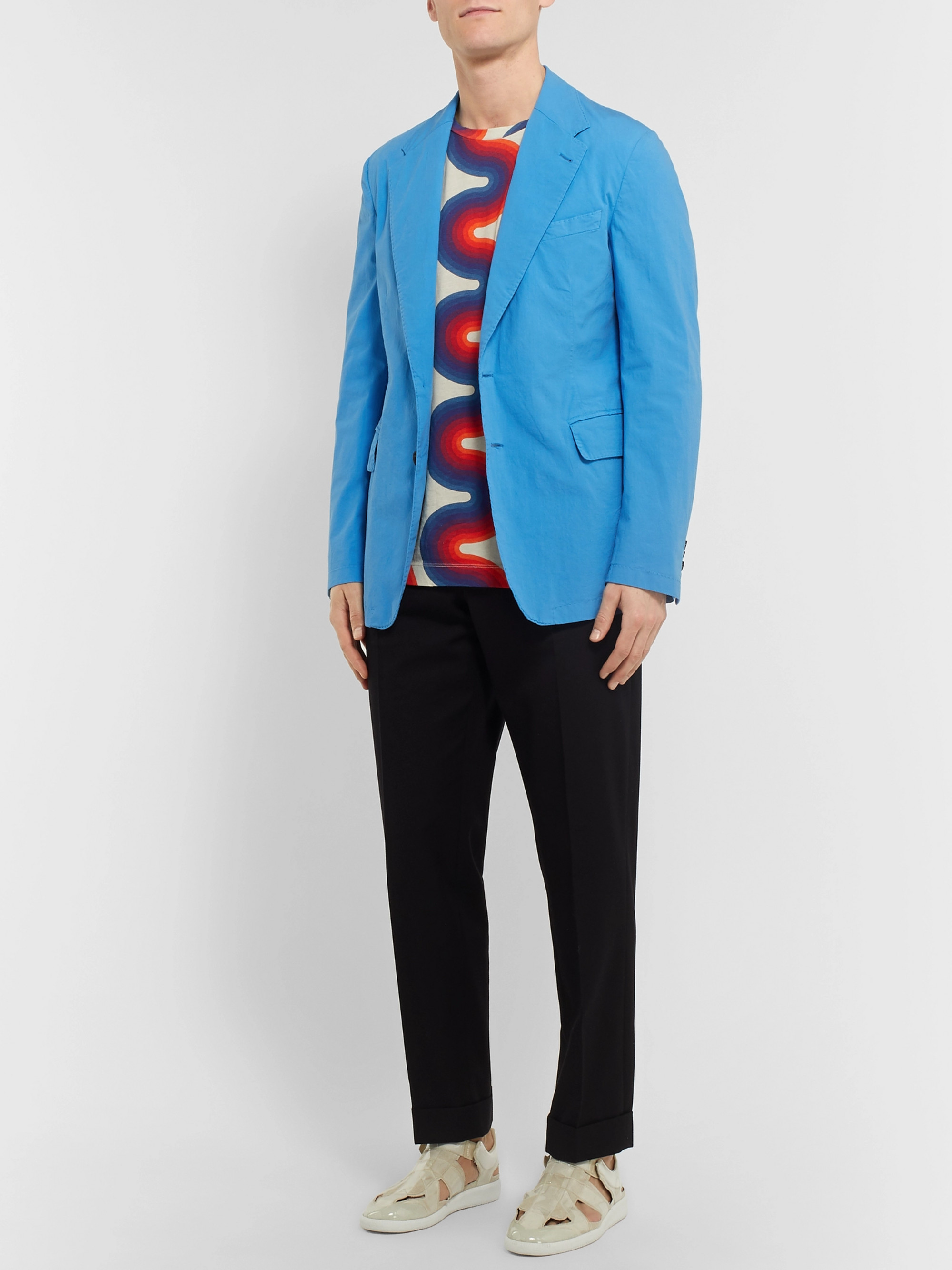 Dries Van Noten Bright-Blue Slim-Fit Unstructured Cotton-Blend Blazer