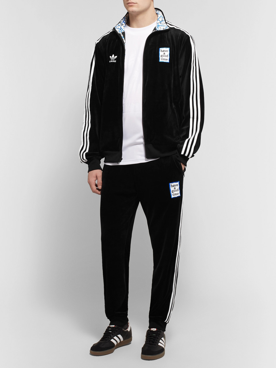 adidas Consortium + Have a Good Time Logo-Embroidered Striped Velour Track Jacket