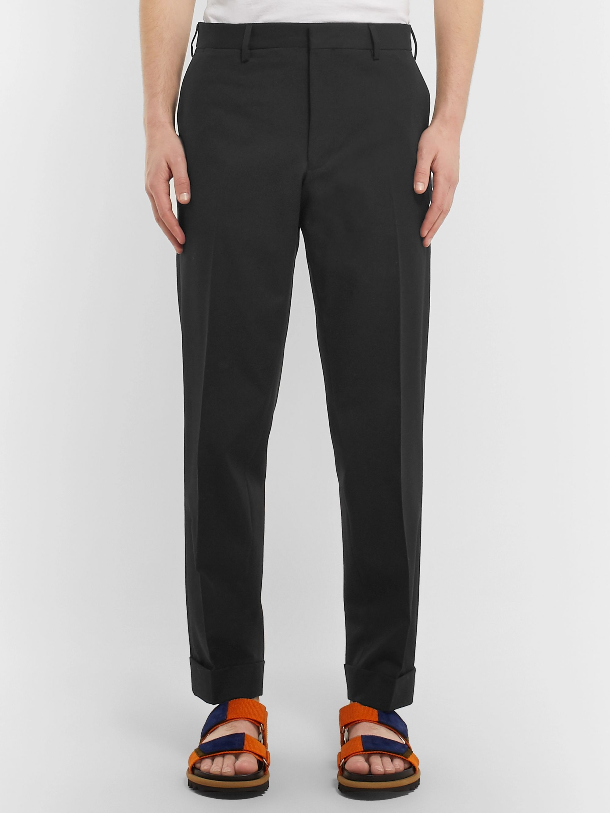 Dries Van Noten Black Cotton and Wool-Blend Trousers