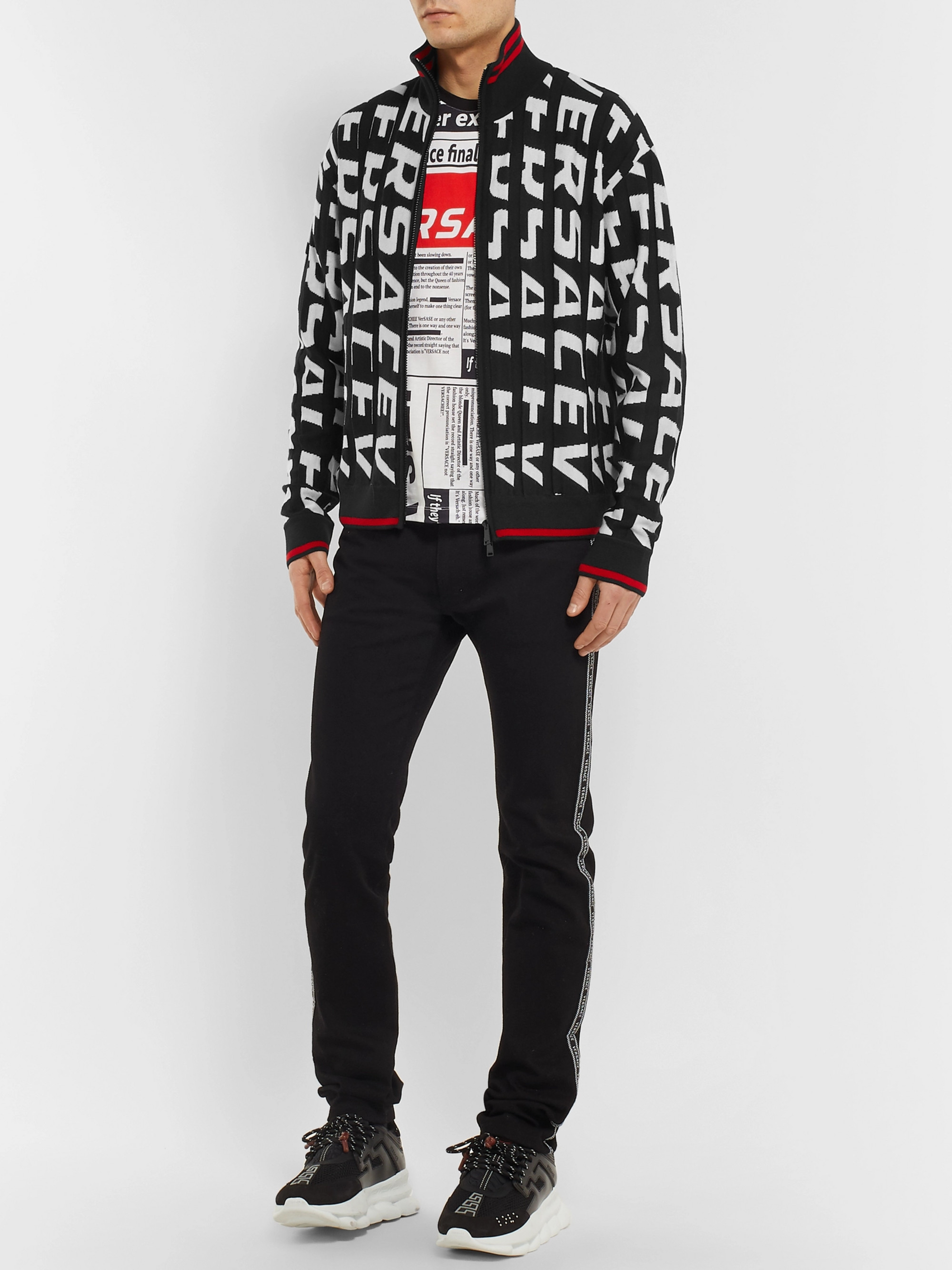 Versace Stripe-Trimmed Logo-Jacquard Wool Zip-Up Cardigan
