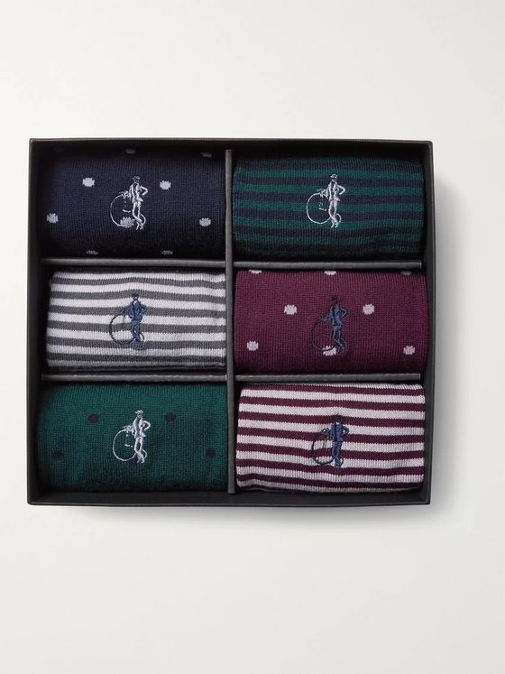 London Sock Co. Simply Sartorial Six-Pack Stretch Wool-Blend Socks
