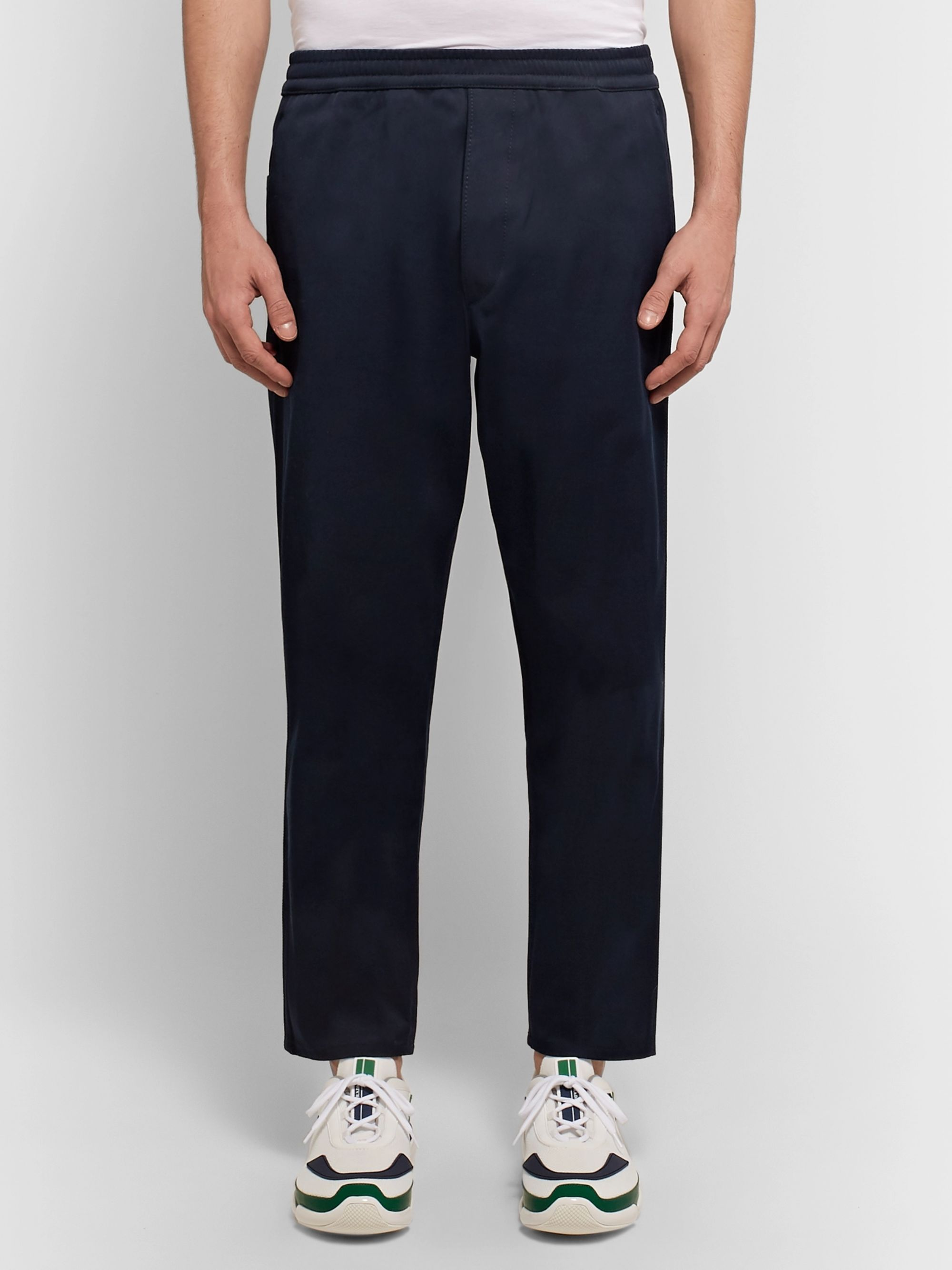 Prada Navy Cropped Cotton-Twill Trousers