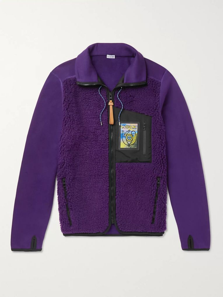 Loewe Logo-Appliquéd Sherpa and Cotton-Jersey Jacket