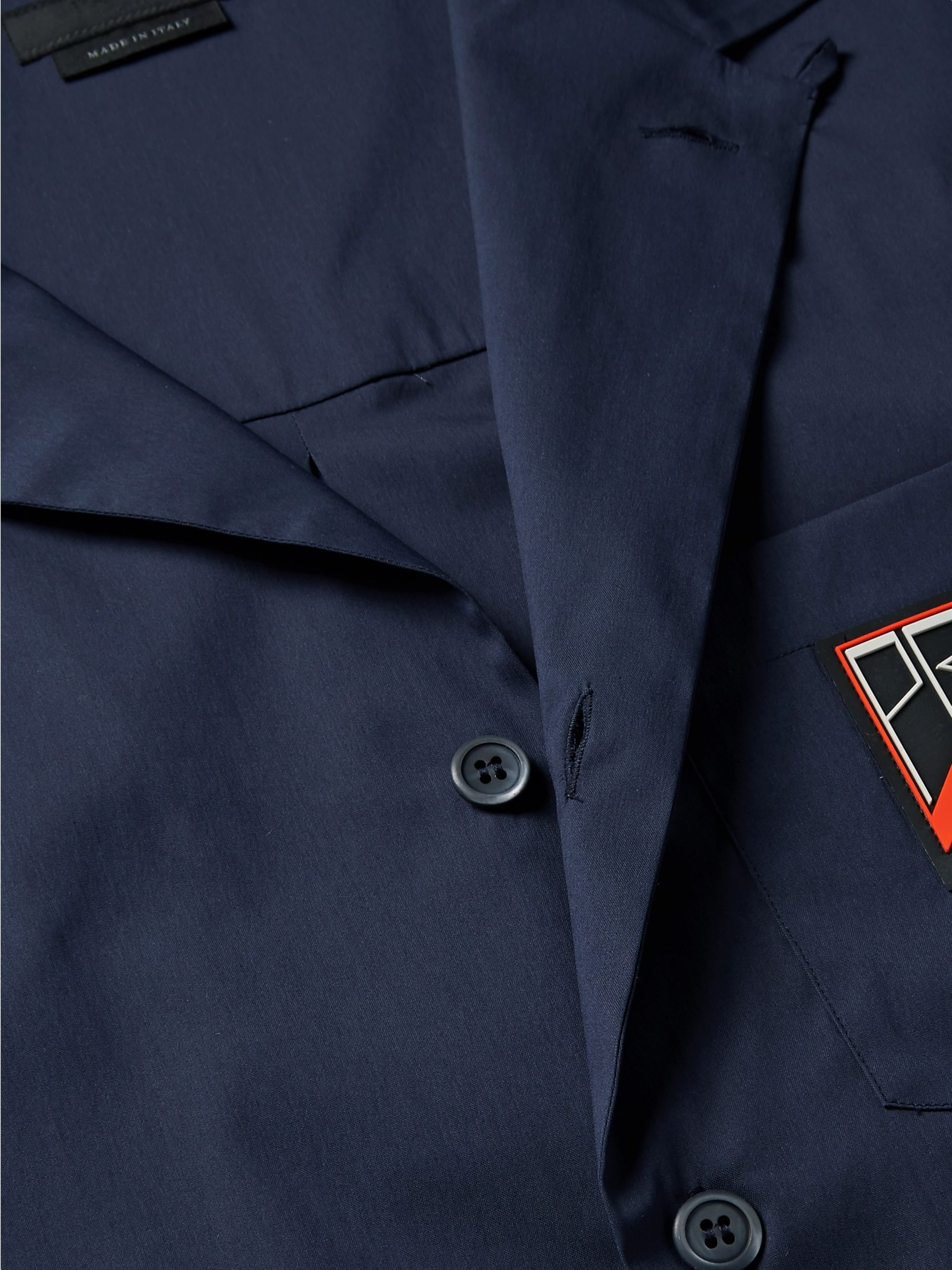 Prada Camp-Collar Logo-Appliquéd Stretch-Cotton Poplin Shirt