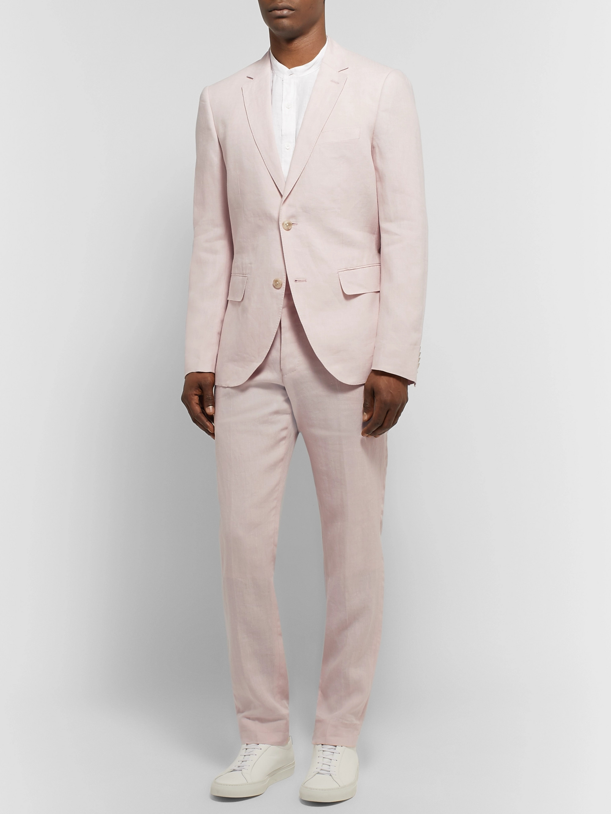 Club Monaco Grant Light-Pink Slim-Fit Linen Blazer