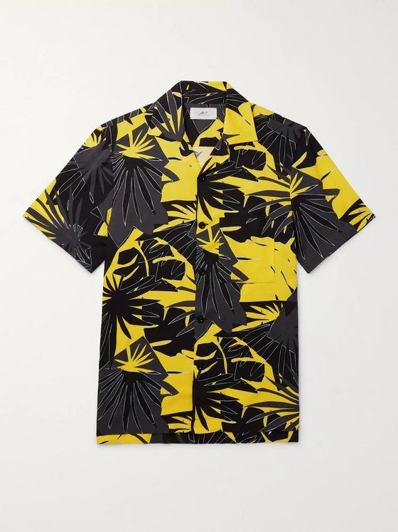 Mr P. Camp-Collar Printed Voile Shirt