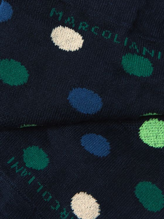 Marcoliani Invisible Touch Polka-Dot Stretch Pima Cotton-Blend No-Show Socks