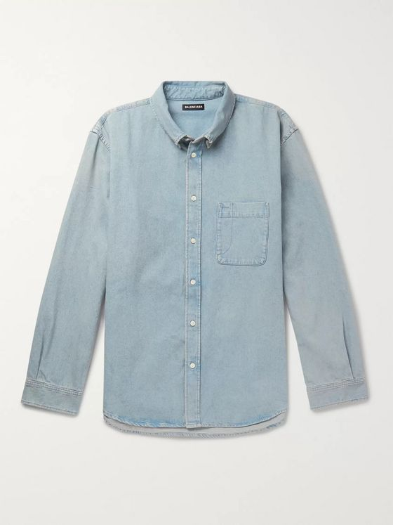 Balenciaga Oversized Button-Down Collar Logo-Print Denim Shirt