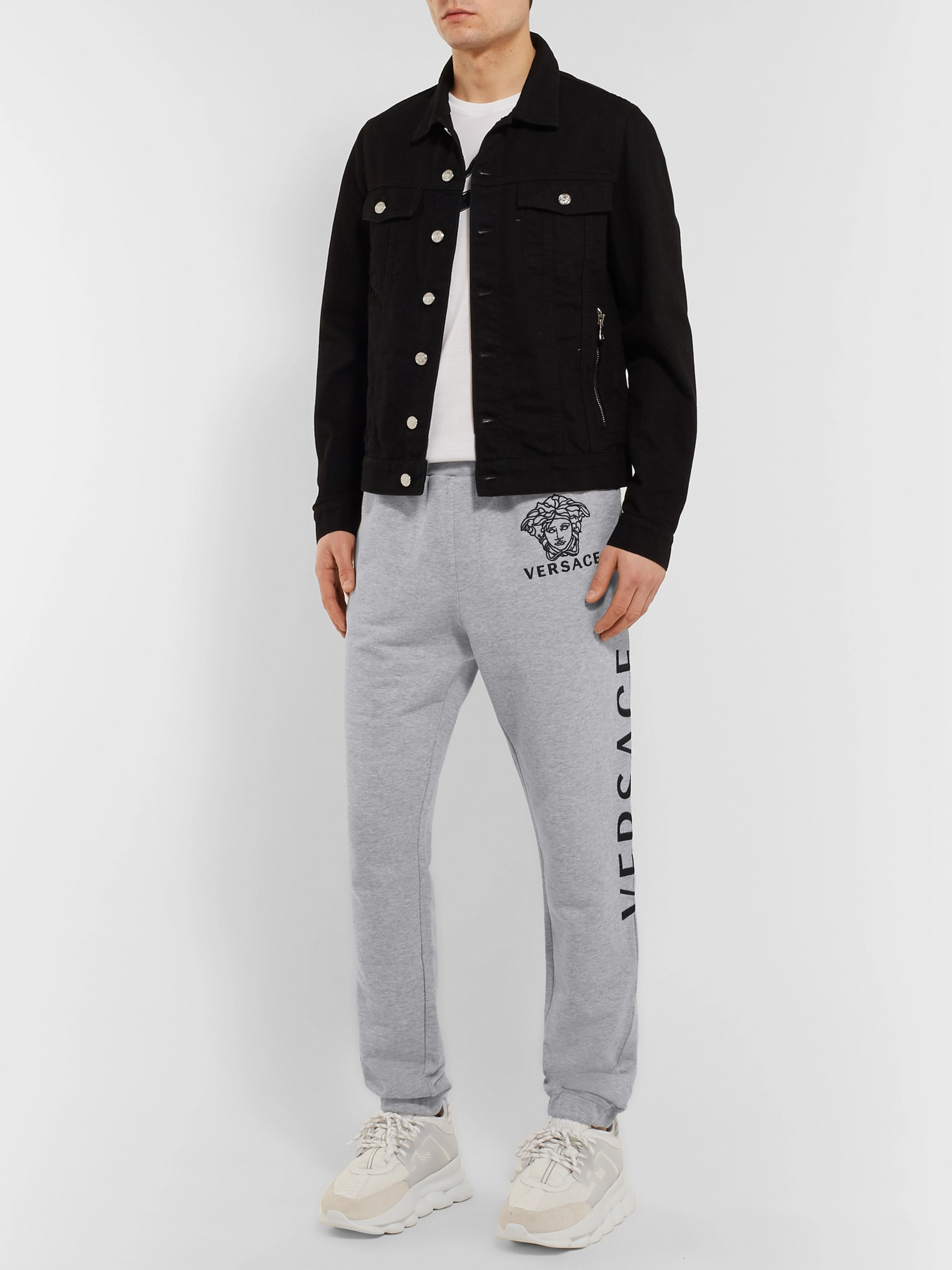 Versace Logo-Embroidered Loopback Cotton-Jersey Sweatpants