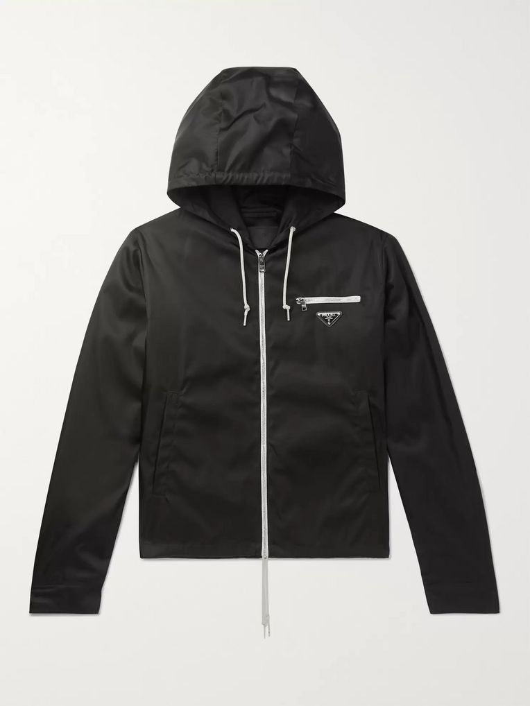 Prada Logo-Appliquéd Nylon Hooded Jacket