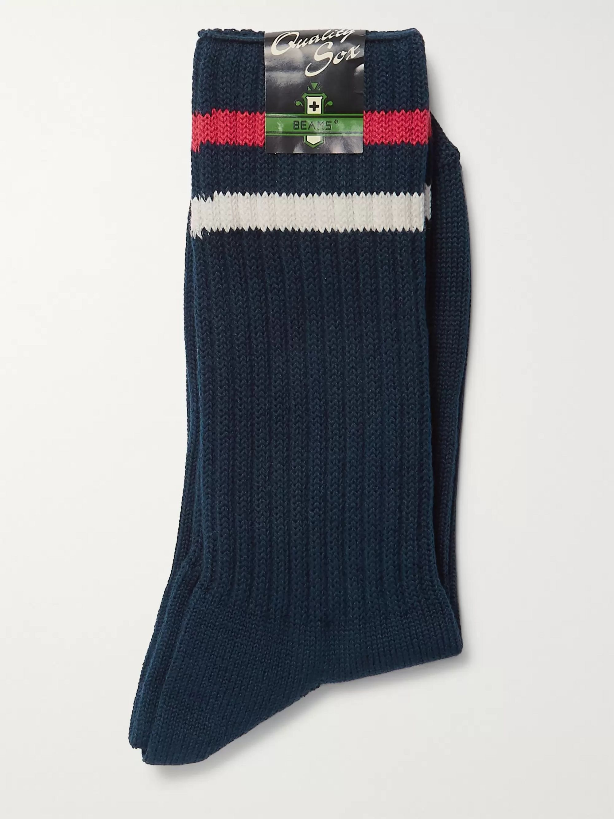 Beams Plus Striped Ribbed Cotton-Blend Socks