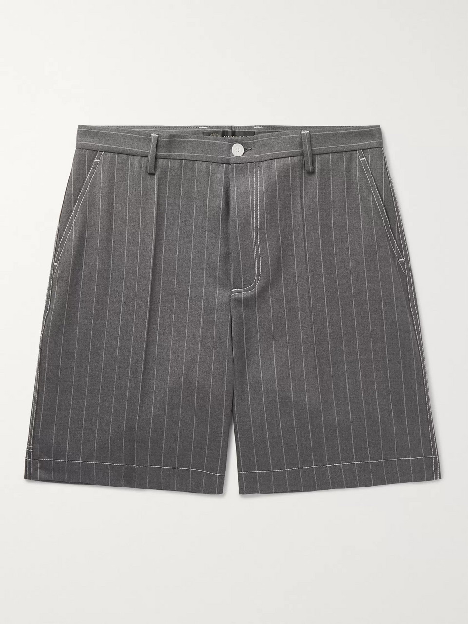 Versace Pinstriped Wool Shorts