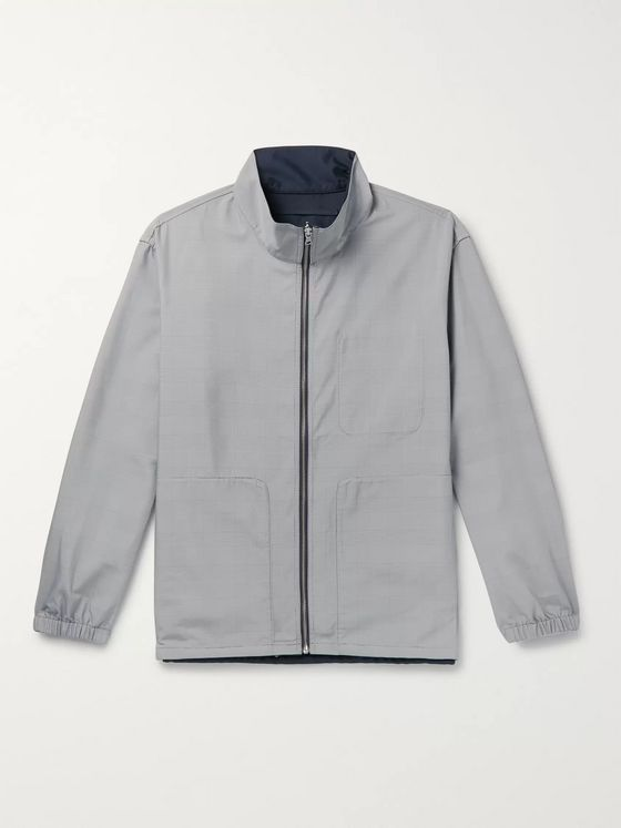 Club Monaco Reversible Matte-Shell and Prince of Wales Checked Woven Track Jacket