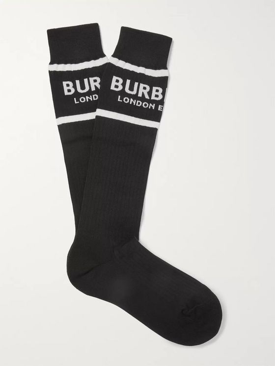 Burberry Ribbed Logo-Intarsia Stretch Cotton-Blend Socks
