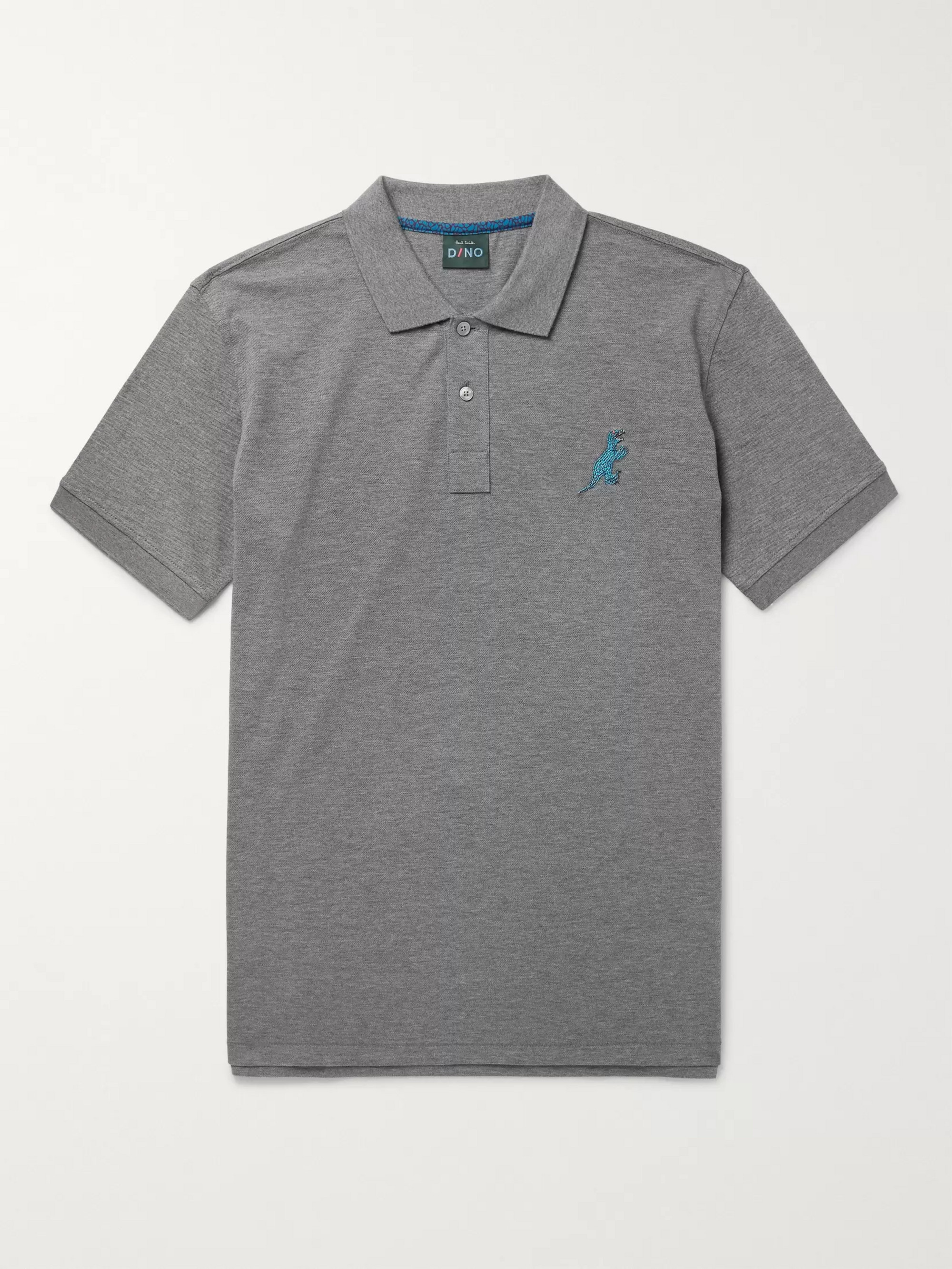 PS Paul Smith Embroidered Mélange Cotton-Piqué Polo Shirt