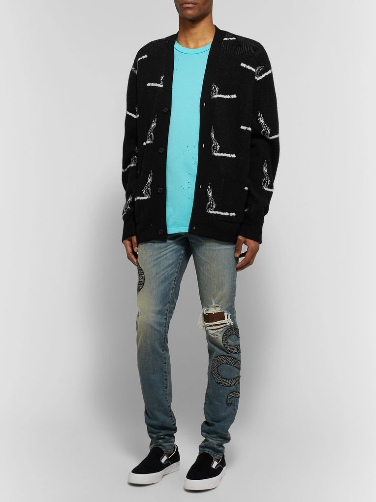AMIRI Cashmere and Wool-Blend Jacquard Cardigan