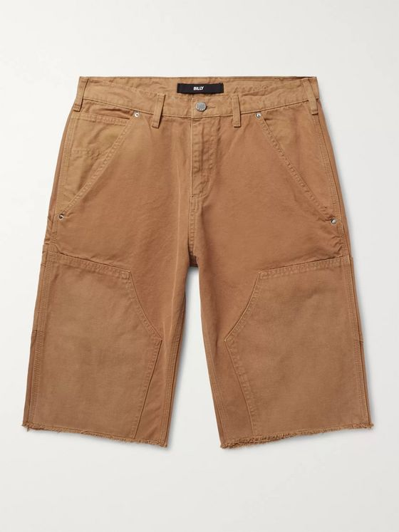 BILLY Distressed Cotton-Canvas Cargo Shorts