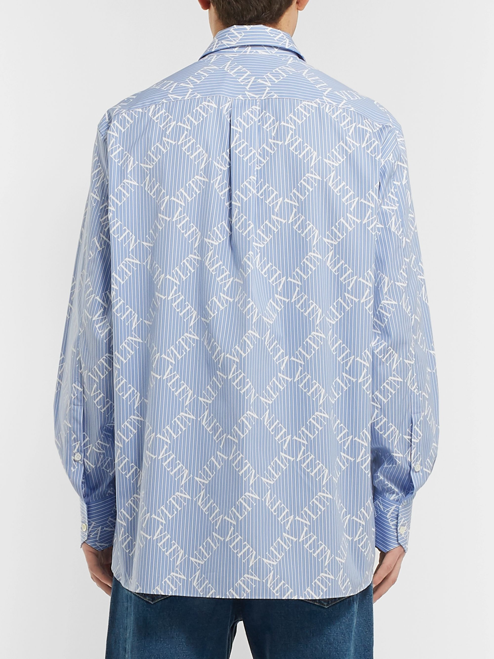 Valentino Logo-Print Striped Cotton-Poplin Shirt