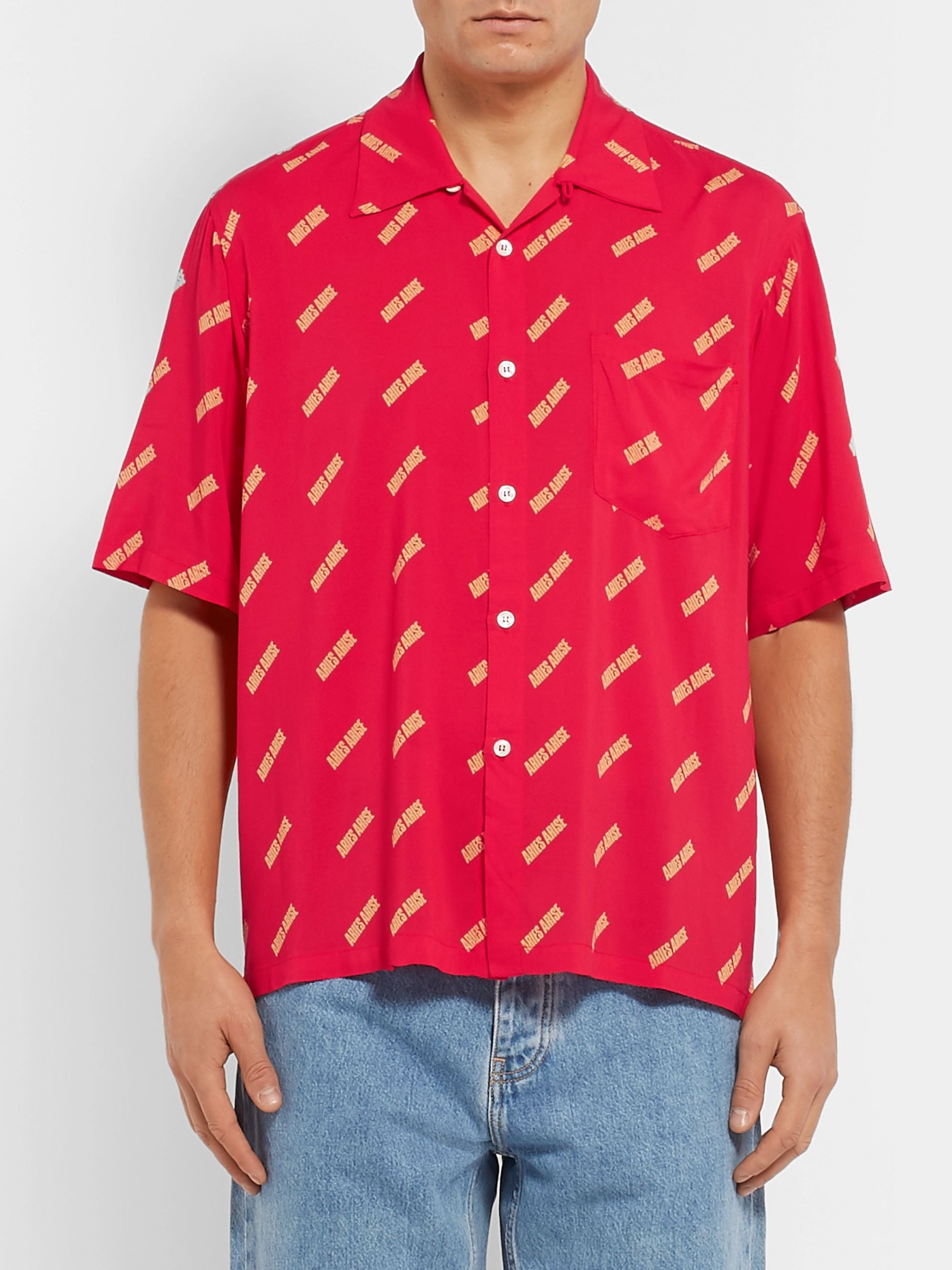 Aries Camp-Collar Logo-Print Voile Shirt
