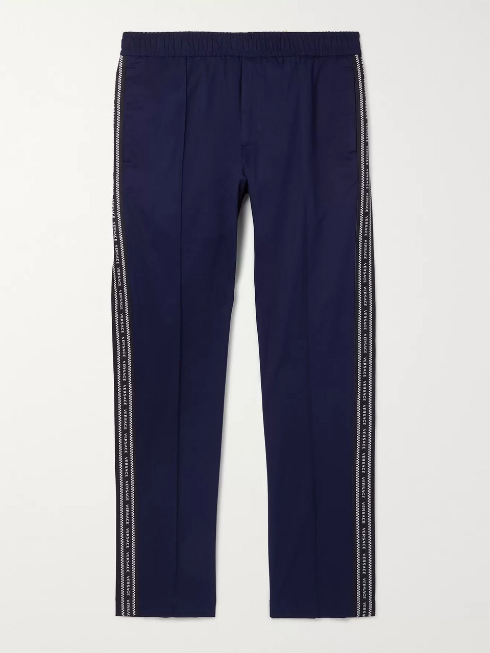 Versace Navy Slim-Fit Logo-Trimmed Cotton-Blend Gabardine Trousers