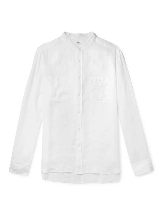 Mr P. Grandad-Collar Linen Shirt