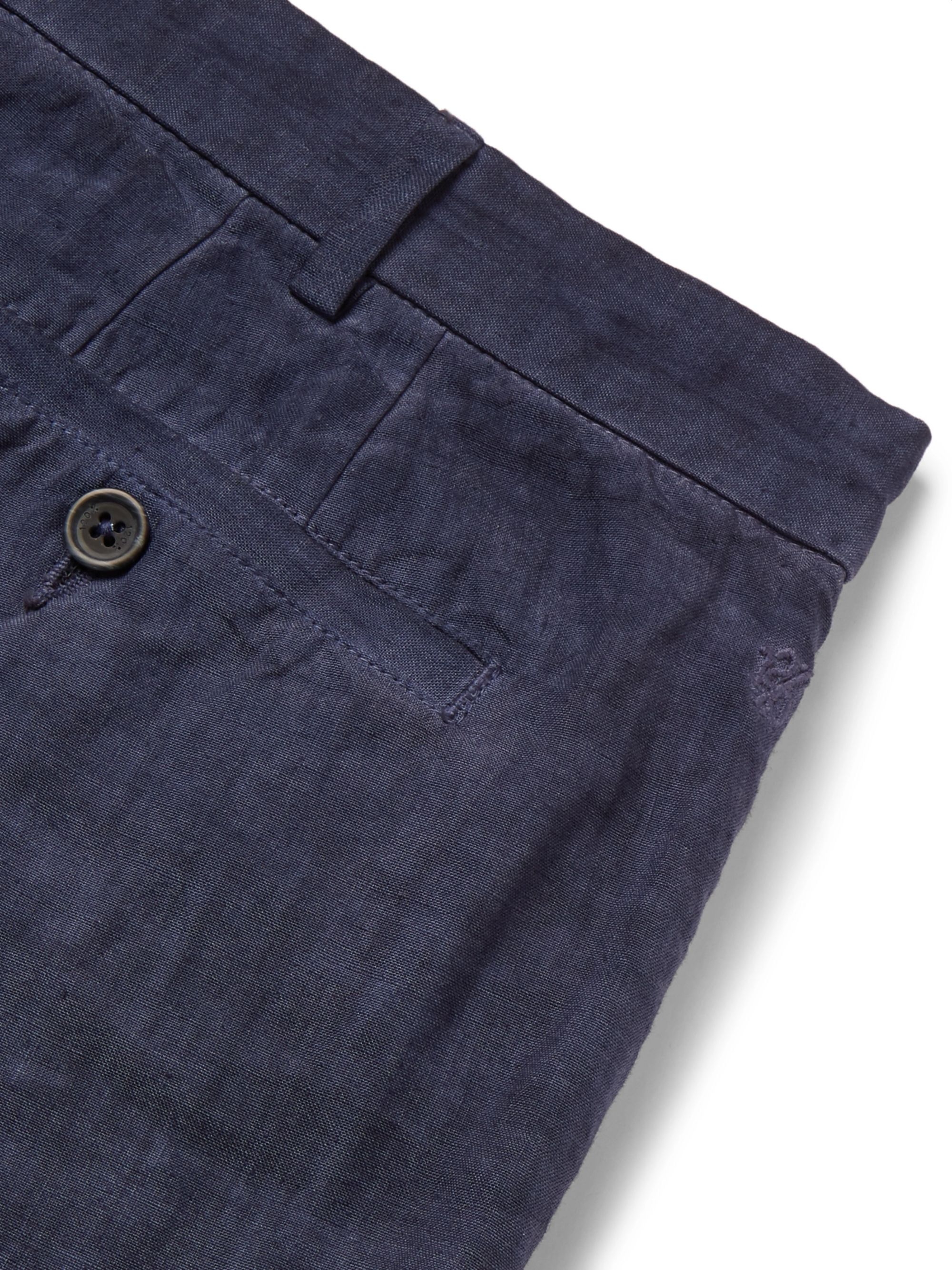 120% Navy Linen Trousers