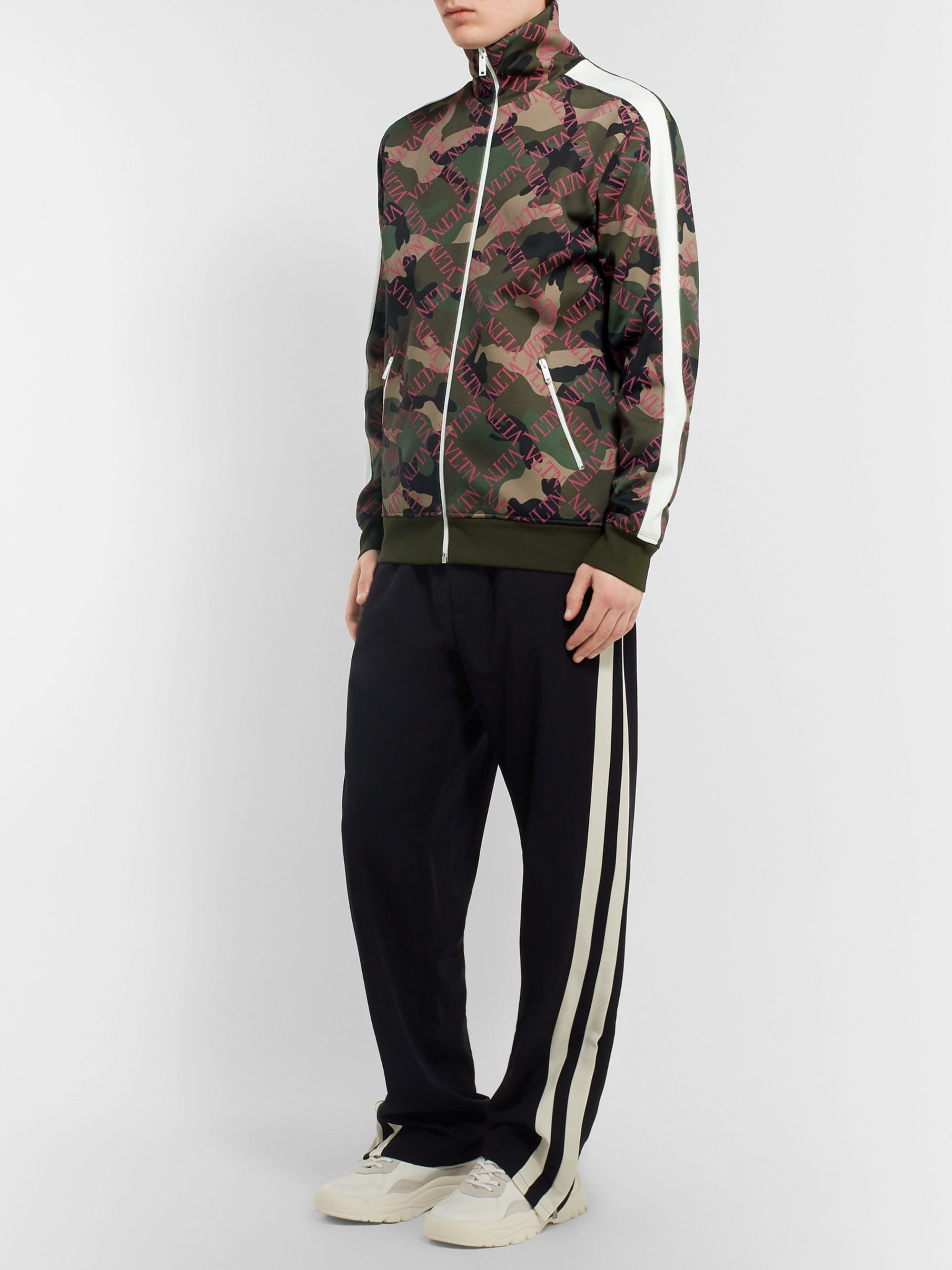 Valentino Slim-Fit Logo and Camouflage-Print Satin-Jersey Track Jacket