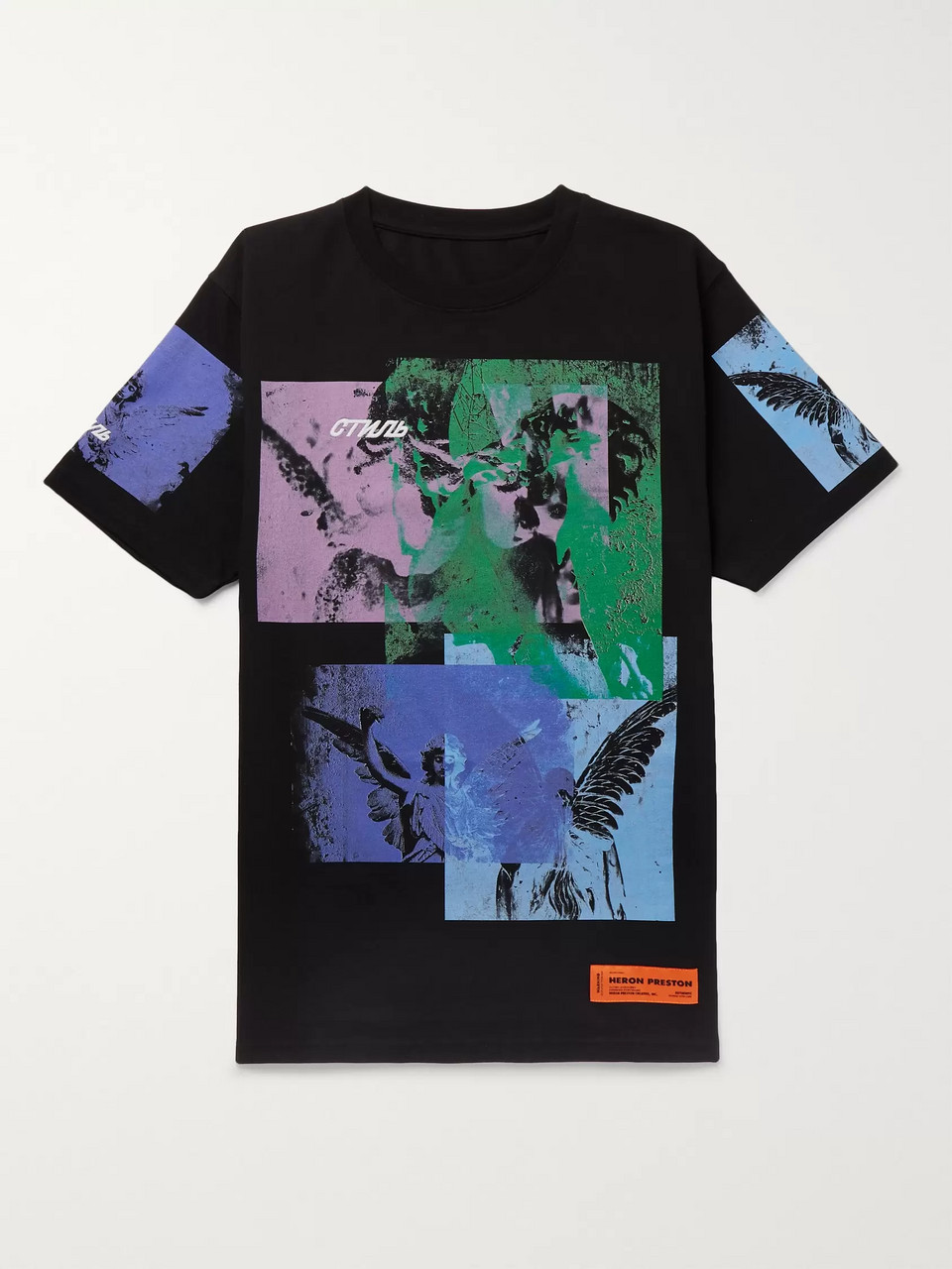 Heron Preston Embroidered Printed Cotton-Jersey T-Shirt
