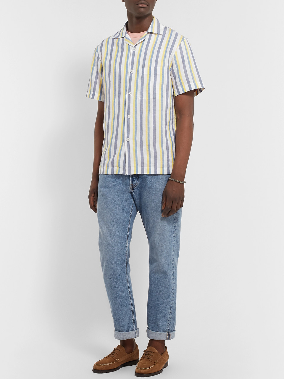 Mr P. Camp-Collar Striped Linen and Cotton-Blend Shirt