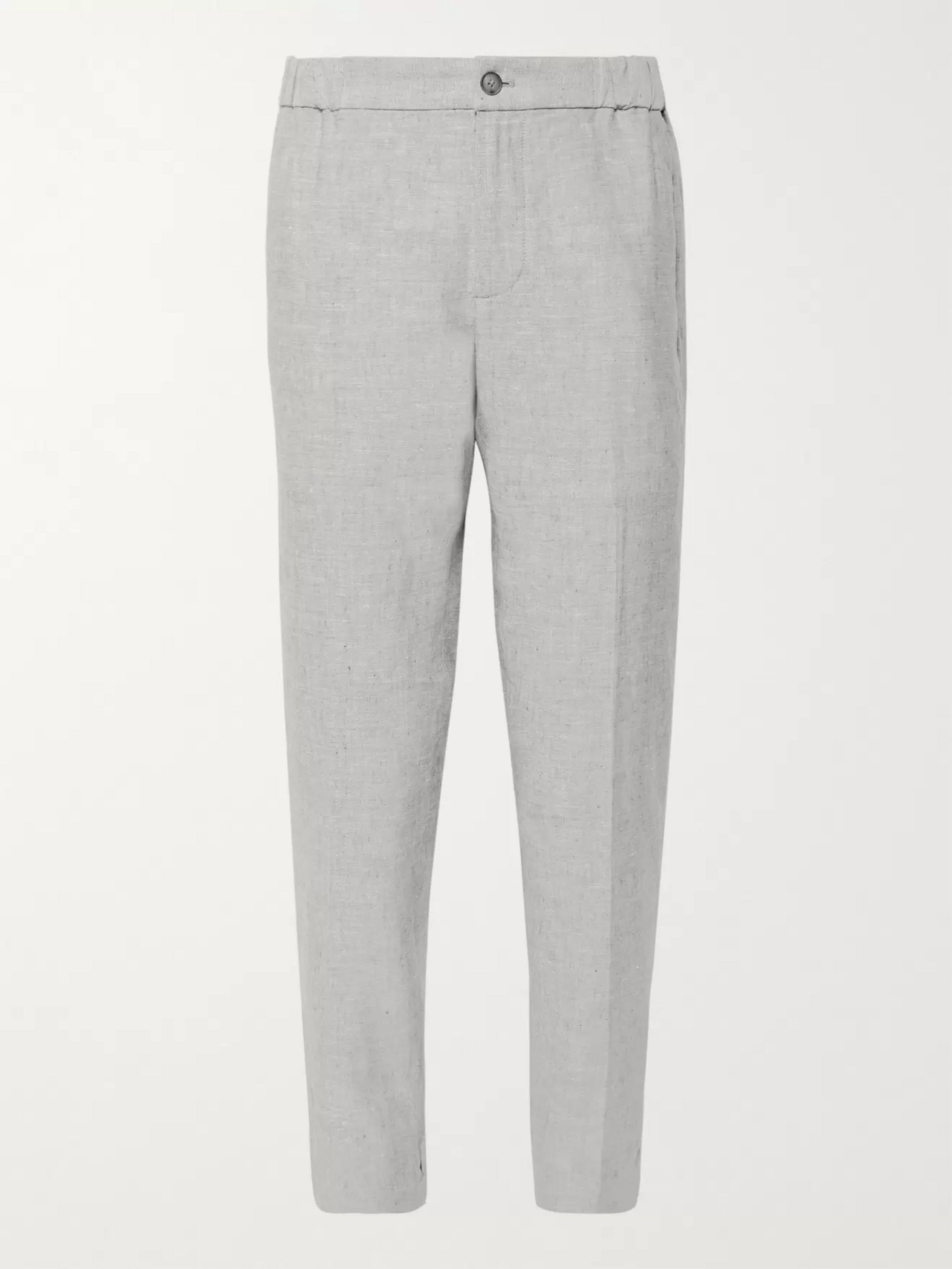 Club Monaco Lex Slim-Fit Tapered Mélange Slub Linen-Blend Trousers