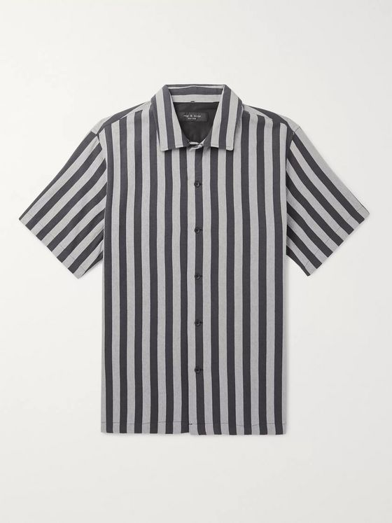 rag & bone Avery Striped Camp-Collar Cotton Shirt