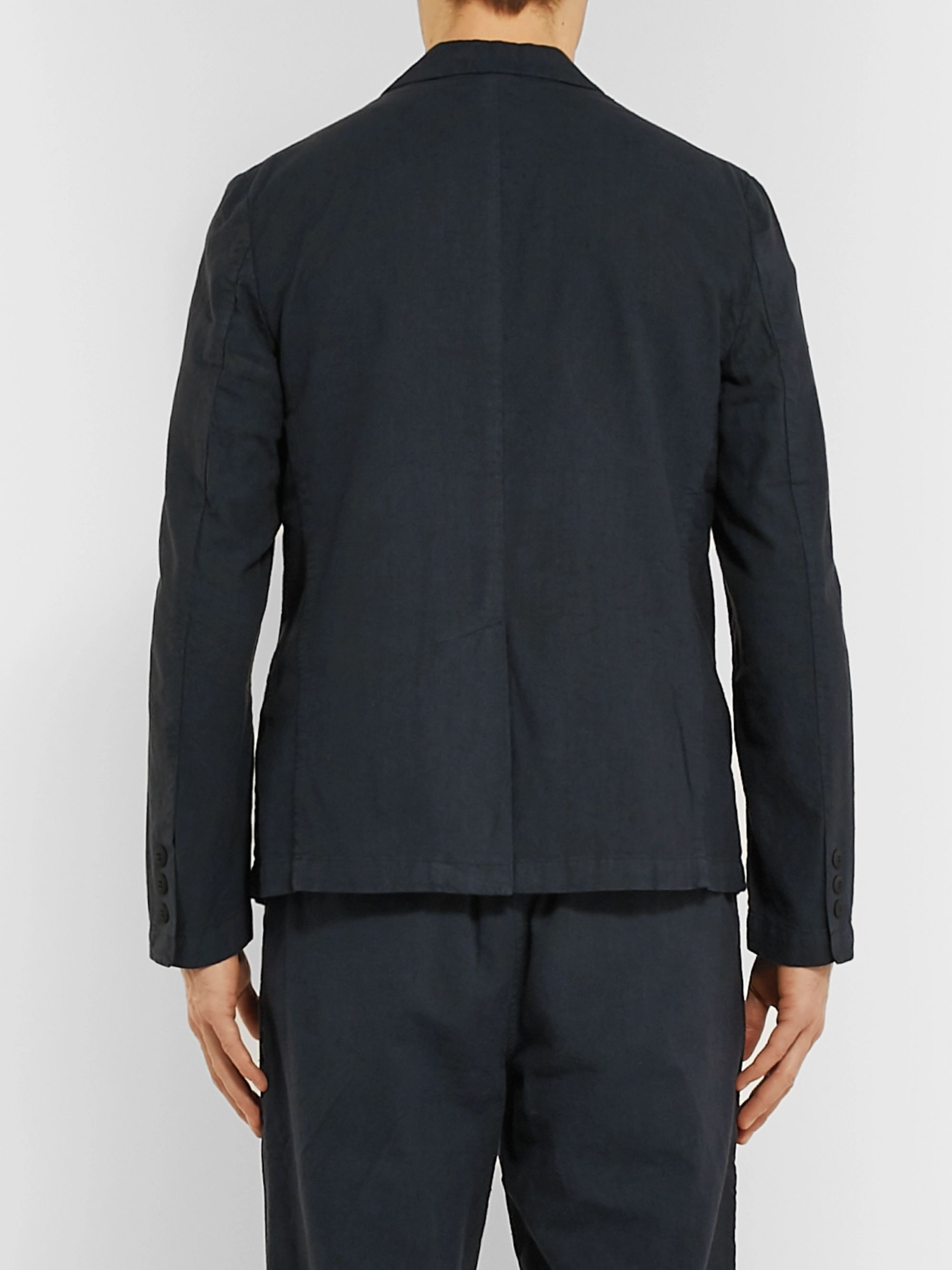 Folk Navy Slim-Fit Unstructured Linen and Cotton-Blend Suit Jacket