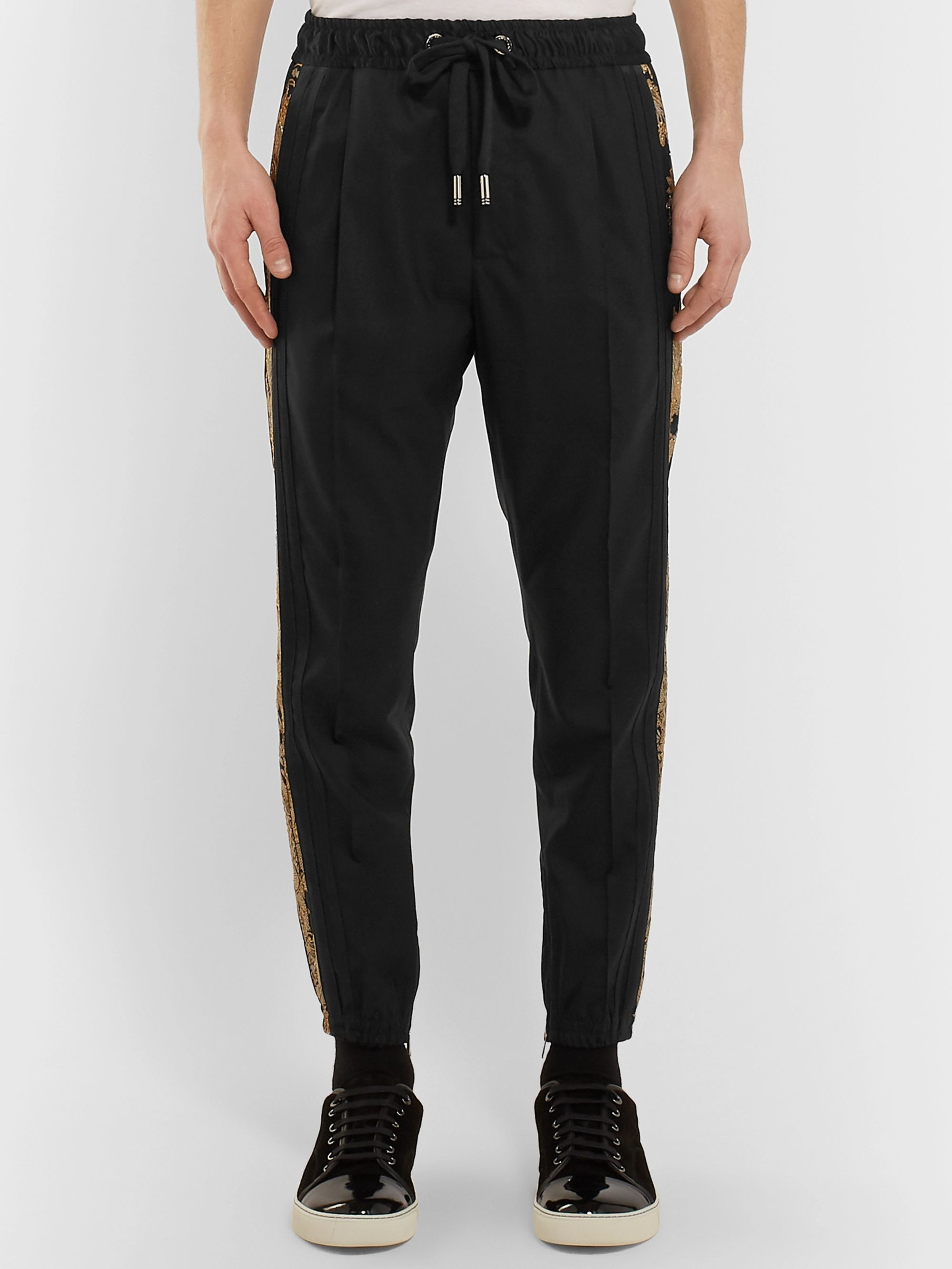 Dolce & Gabbana Tapered Striped Wool-Blend Drawstring Trousers