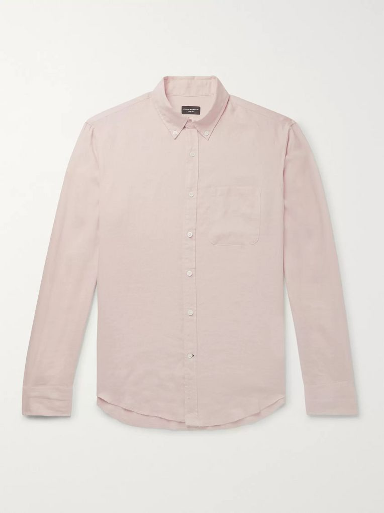 Club Monaco Slim-Fit Button-Down Collar Slub Linen Shirt