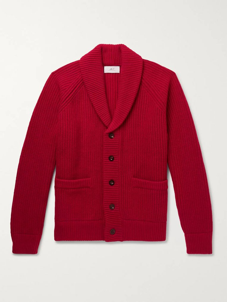 Mr P. Oversized Shawl-Collar Ribbed Wool and Cashmere-Blend Cardigan