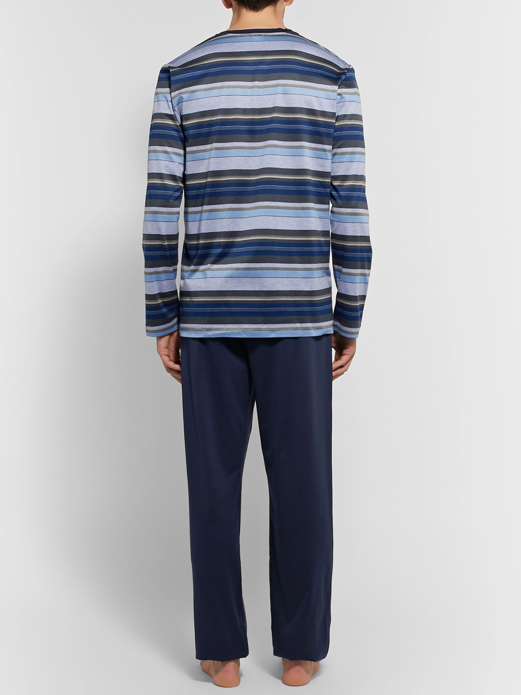 Hanro Jolan Mercerised Striped Cotton-Jersey Pyjama Set