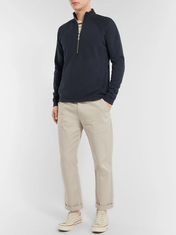 Folk Loopback Cotton-Jersey Half-Zip Sweatshirt
