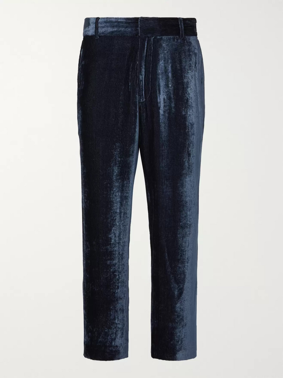 Sies Marjan Alex Cropped Silk and Cotton-Blend Velvet-Corduroy Trousers