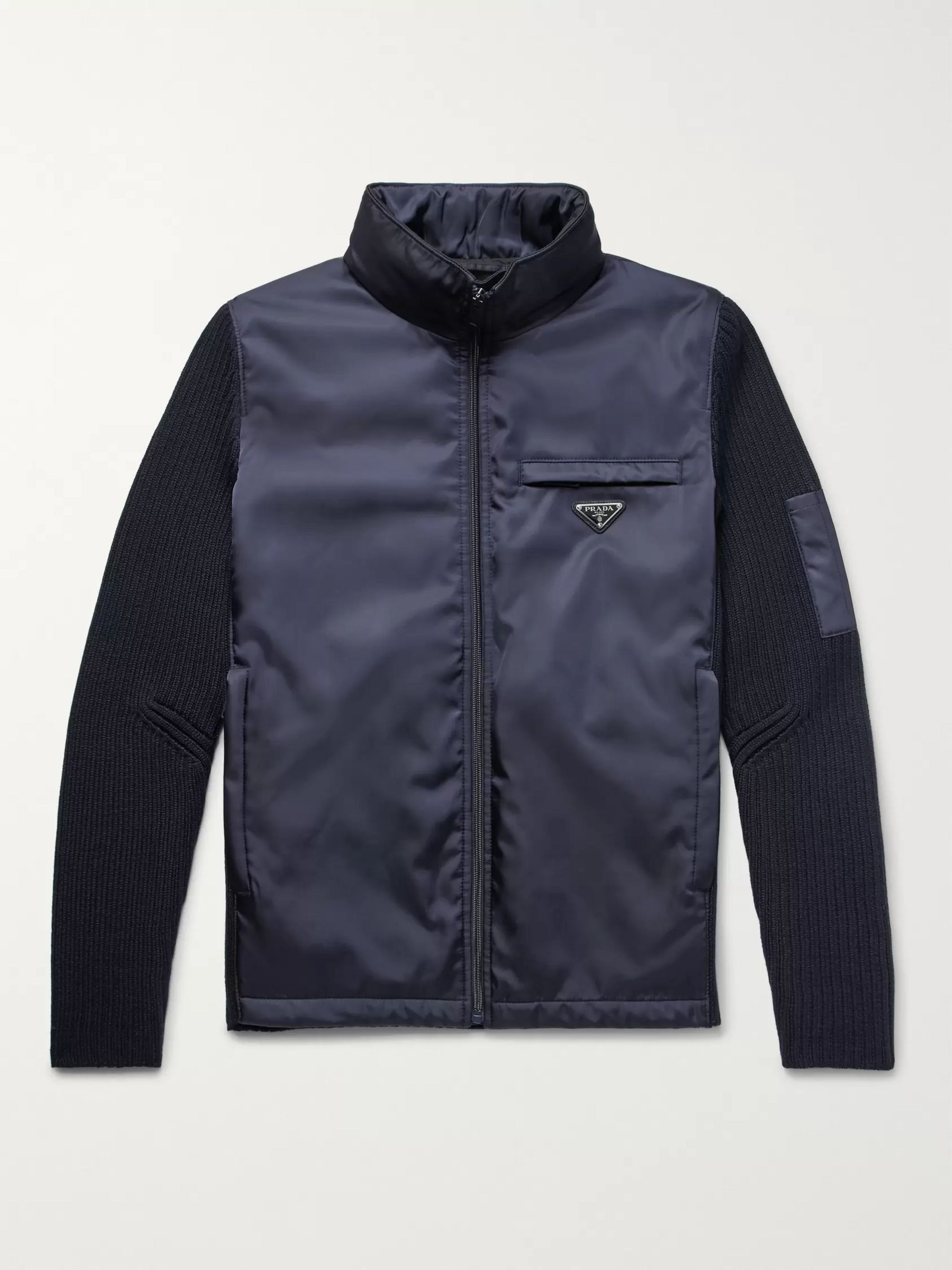 Prada Slim-Fit Shell and Ribbed Virgin Wool Hooded Jacket