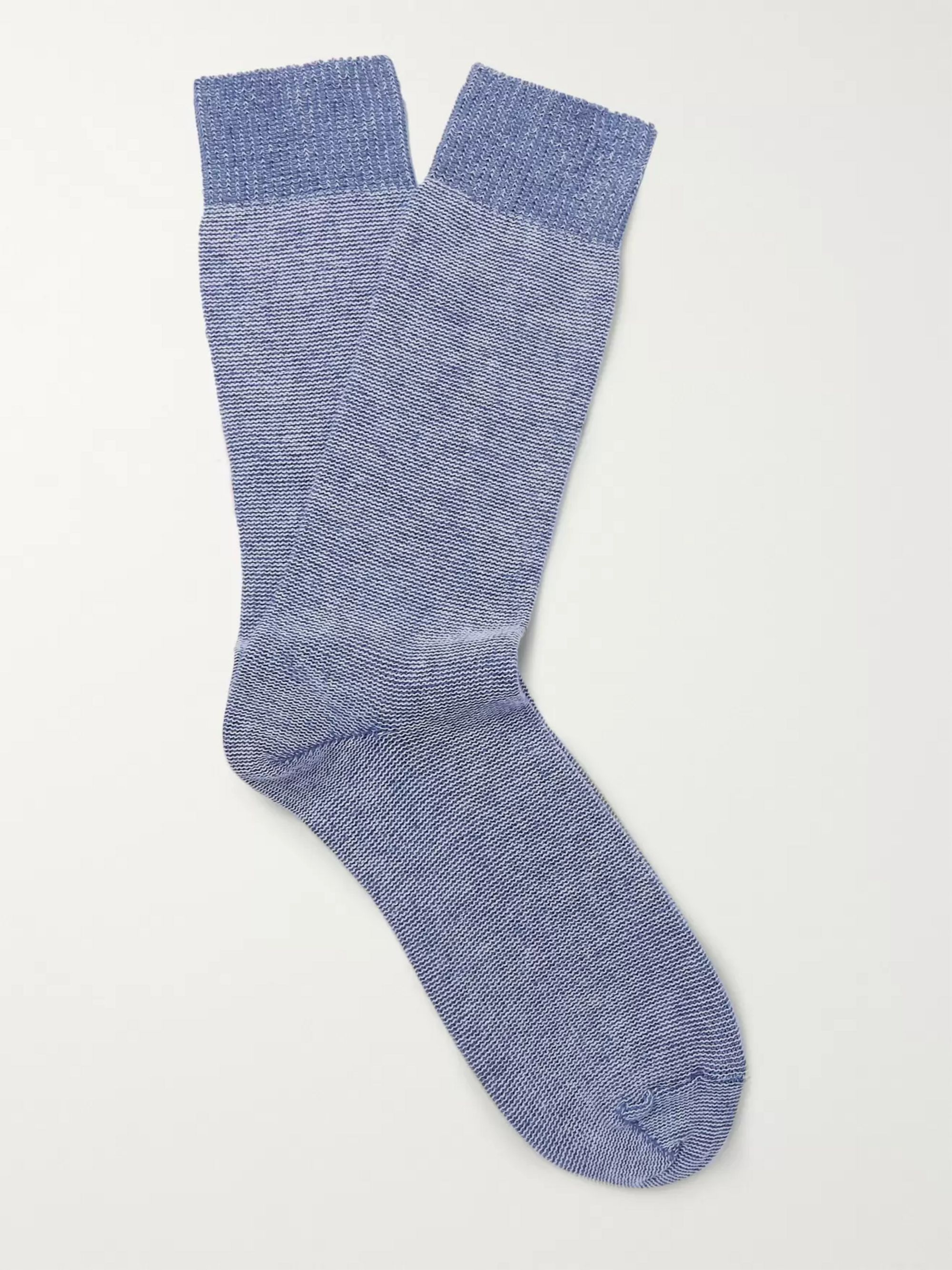The Workers Club Mélange Cotton-Blend Socks