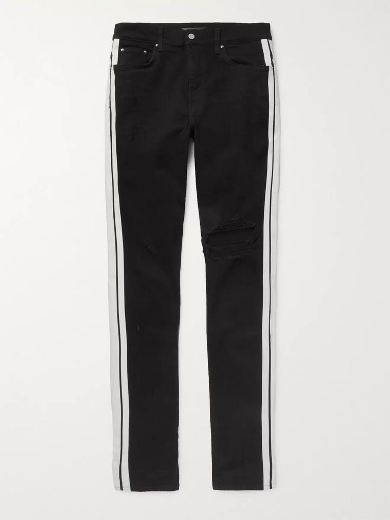 AMIRI Broken Track Skinny-Fit Striped Distressed Stretch-Denim Jeans