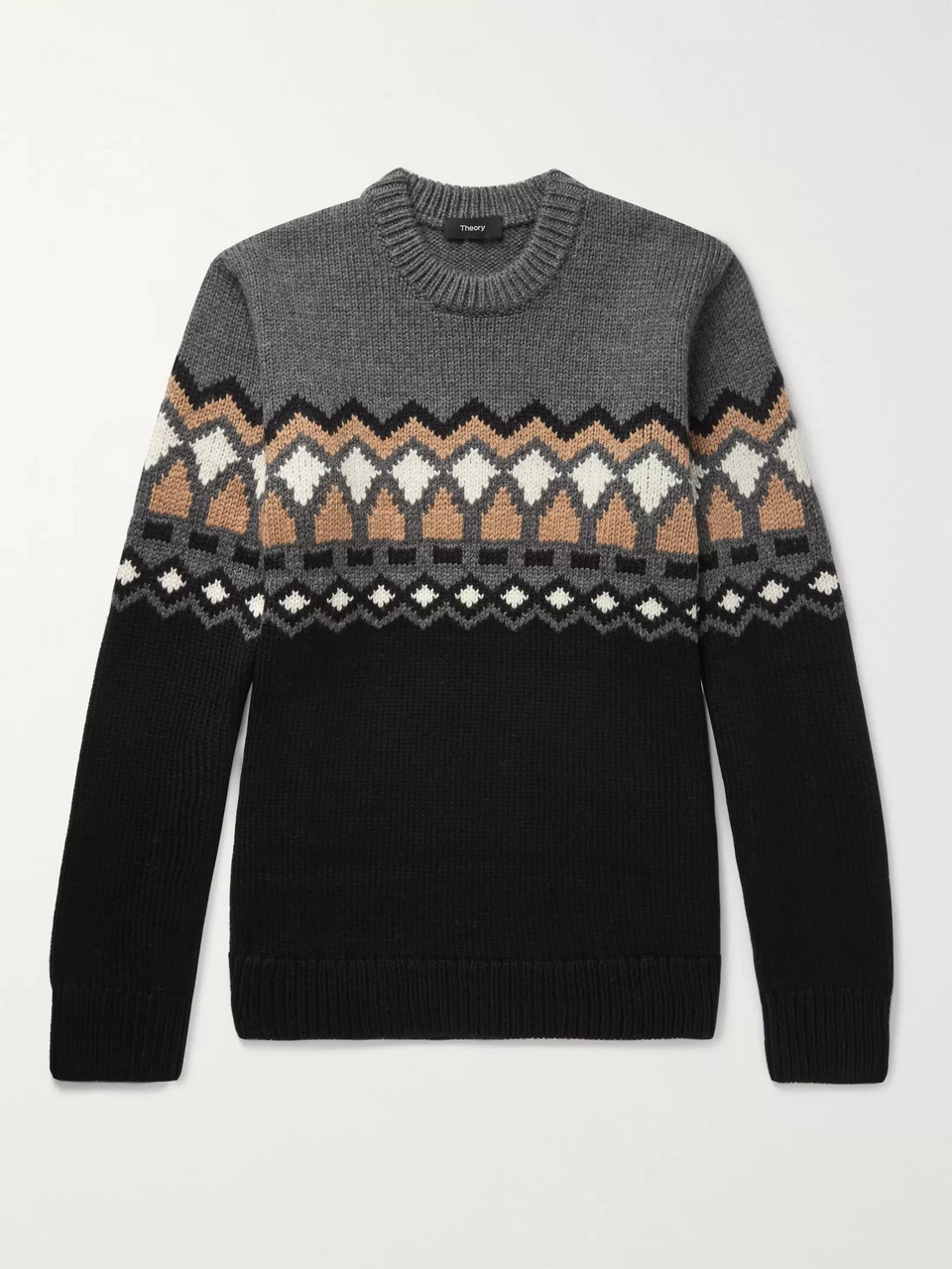 Theory Rueda Fair Isle Merino Wool Sweater