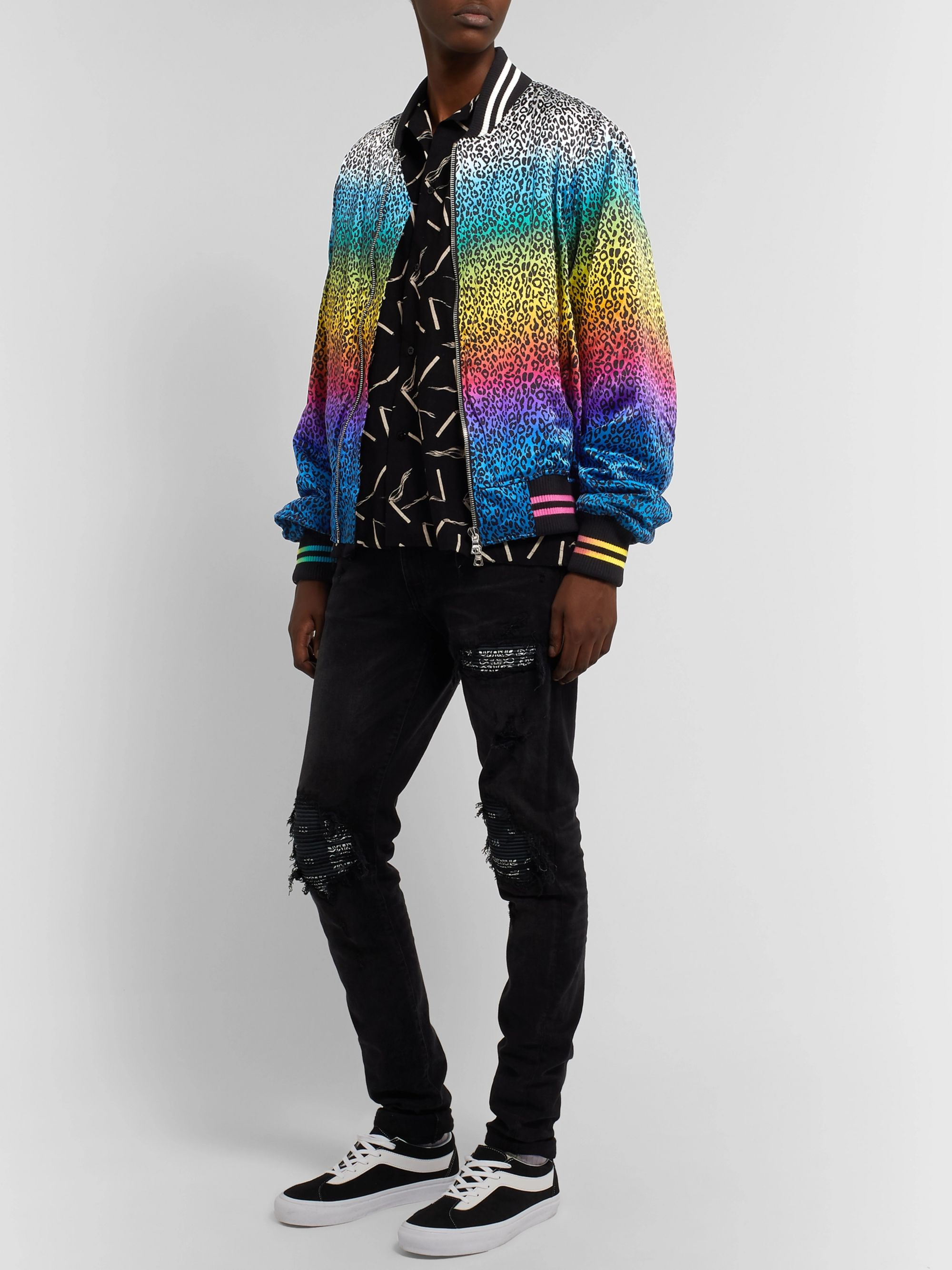 AMIRI Printed Silk-Satin Bomber Jacket