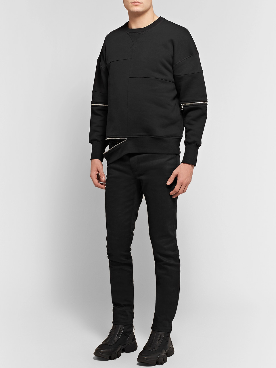 Alexander McQueen Zip-Detailed Shell-Panelled Fleece-Back Cotton-Jersey Sweatshirt